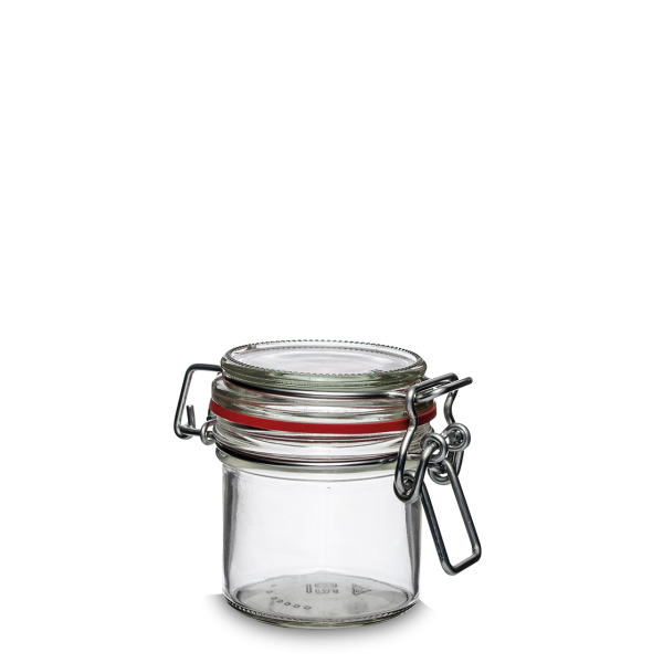 125 ml Drahtbügelglas - rund - Klarglas