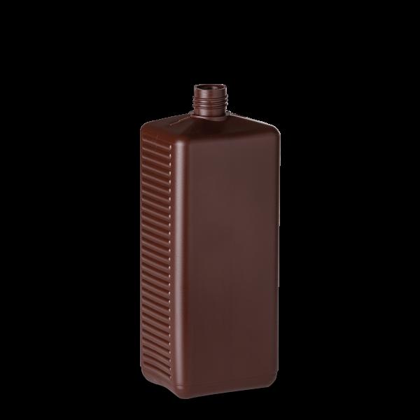 1000 ml Vierkantflasche - braun - DIN 25 Gewinde