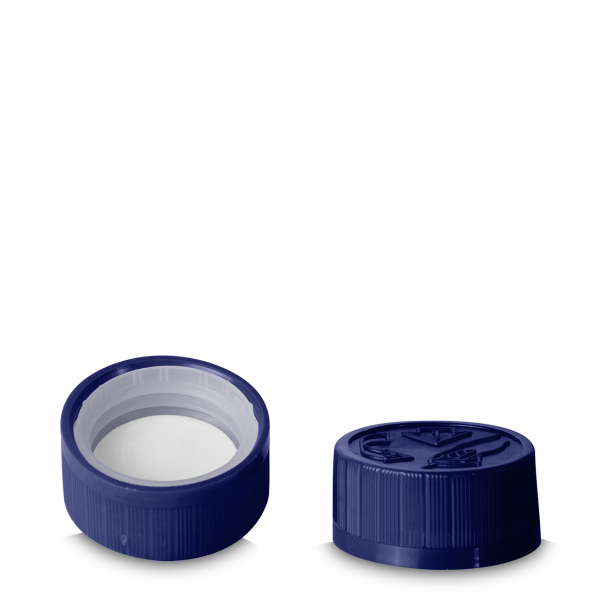 Drück & Dreh Verschluss - blau - DIN 28 Gewinde
