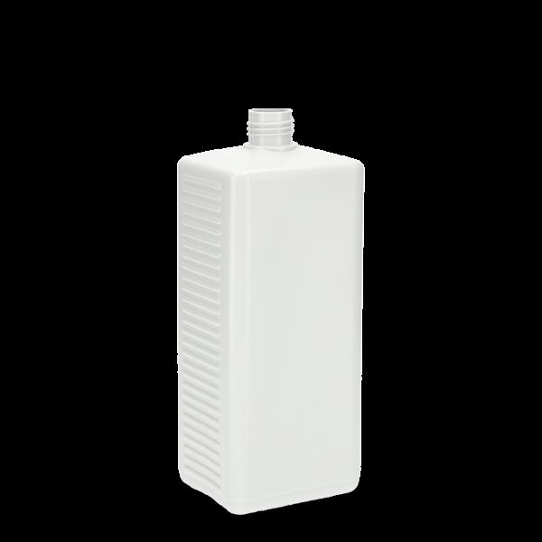 1000 ml Vierkantflasche - weiß - DIN 25 Gewinde