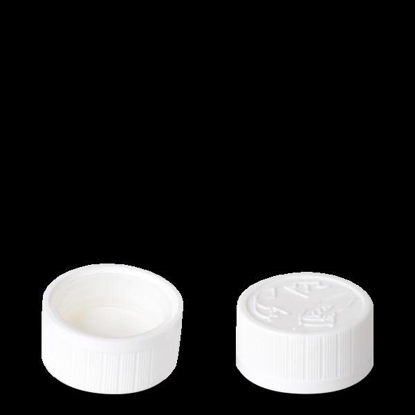 Drück & Dreh Verschluss - weiß - DIN 28 Gewinde