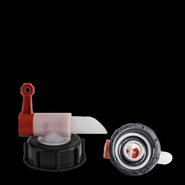 Auslaufhahn - Dosierhahn - rot - DIN 61 Gewinde