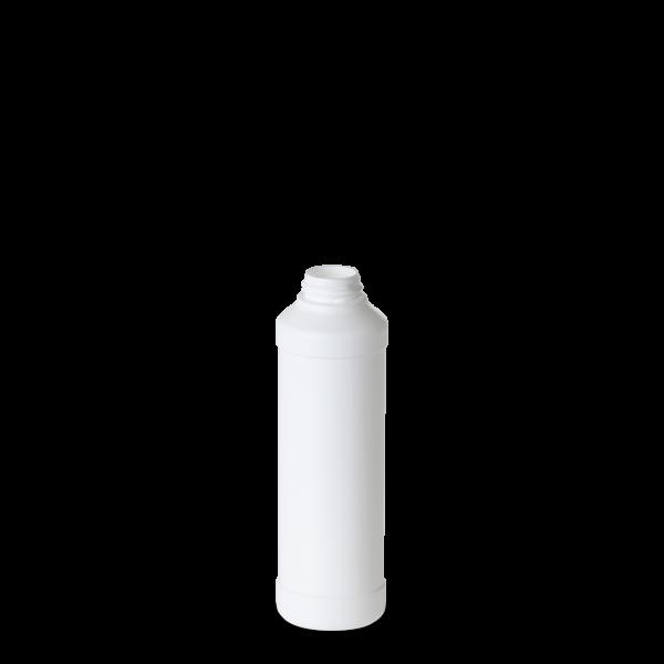 250 ml Rundflasche - weiß - DIN 28 Gewinde