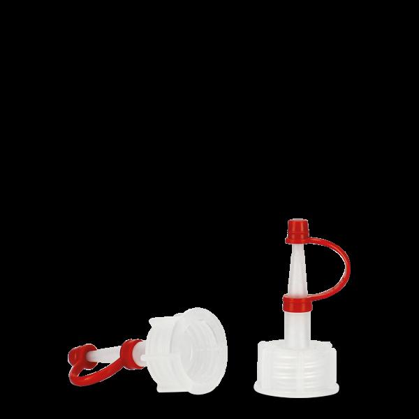 Tropfverschluss - natur - DIN 18 - Halteband rot