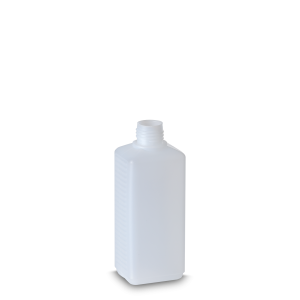 250 ml Vierkantflasche - natur - DIN 25 Gewinde