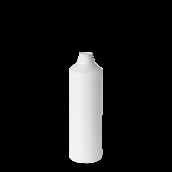 500 ml Rundflasche - weiß - DIN 28 Gewinde