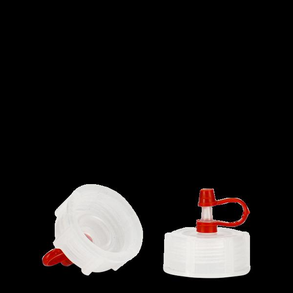 Tropfverschluss - natur - DIN 28 - Halteband rot