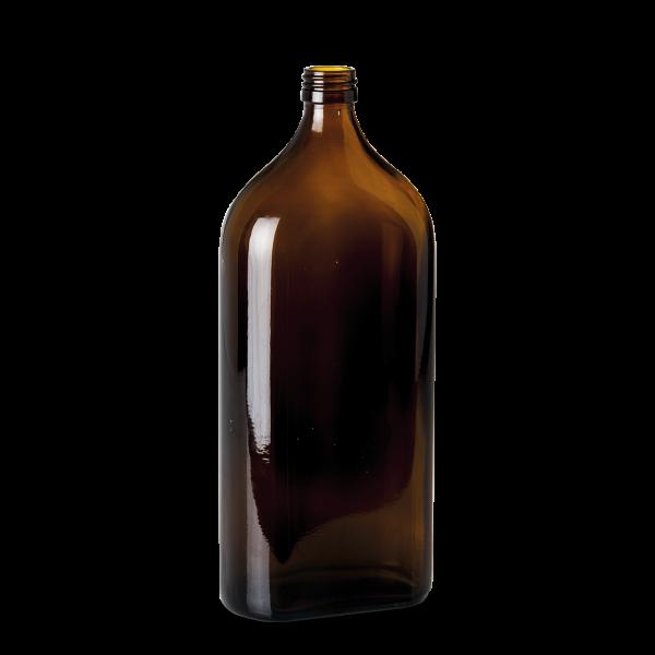 1000 ml Meplatflasche - Braunglas - PP 28 Gewinde