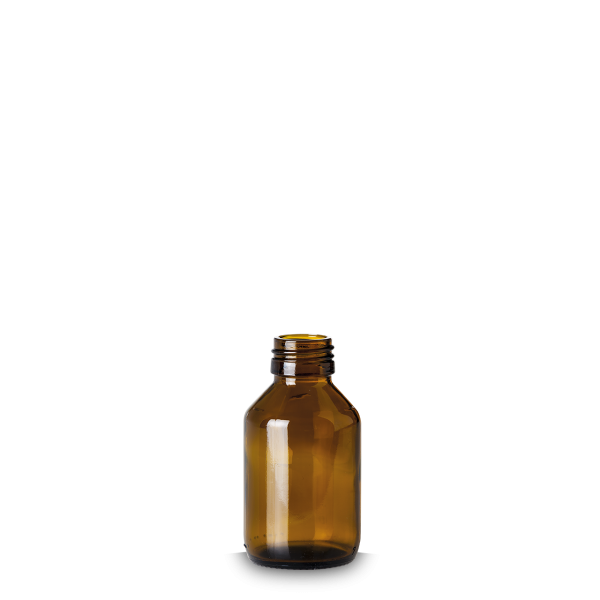 100 ml Verpackungsflasche - Braunglas - PP 28