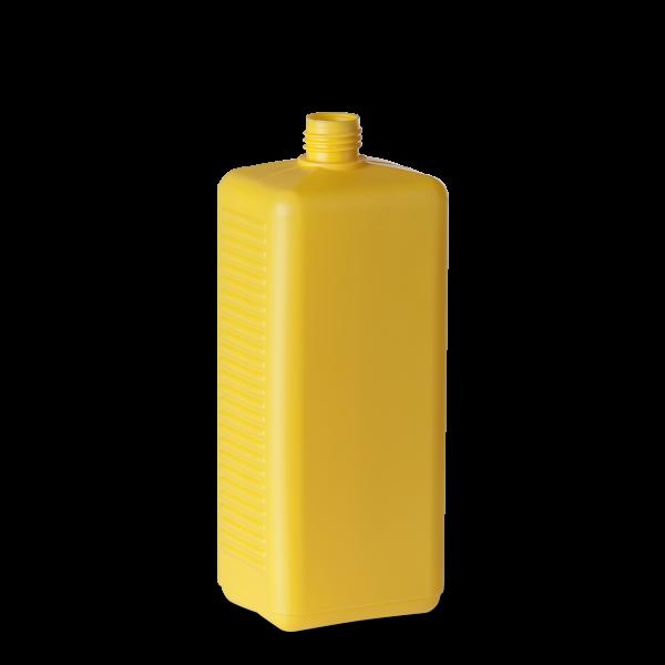 1050 ml Vierkantflasche - gelb - DIN 25 Gewinde