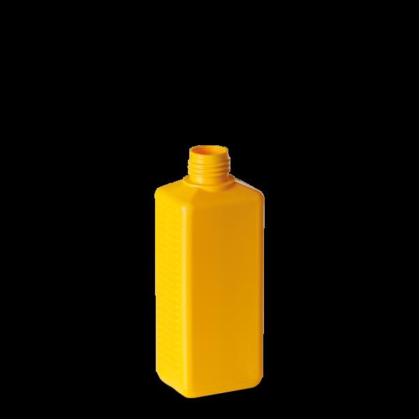 275 ml Vierkantflasche - gelb - DIN 25 Gewinde