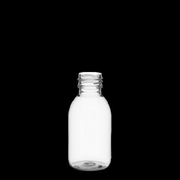125 ml Rundflasche - klar - PP 28 Gewinde