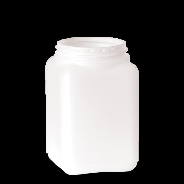 1000 ml Dose - quadratisch - weiß - DIN 80 Gewinde