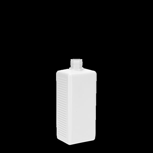 500 ml Vierkantflasche PCR HDPE - weiß - DIN 25