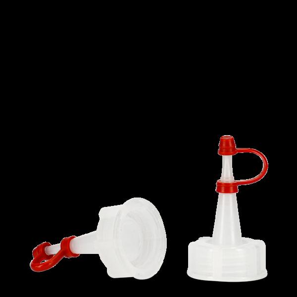 Tropfverschluss - natur - DIN 25 - Halteband rot