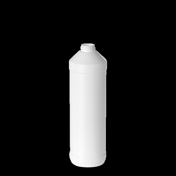 750 ml Rundflasche - weiß - DIN 28 Gewinde