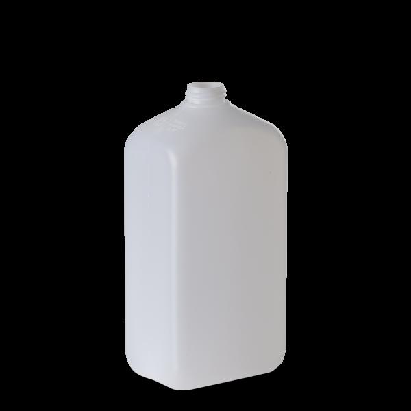 1000 ml Vierkantflasche - natur - DIN 28 Gewinde